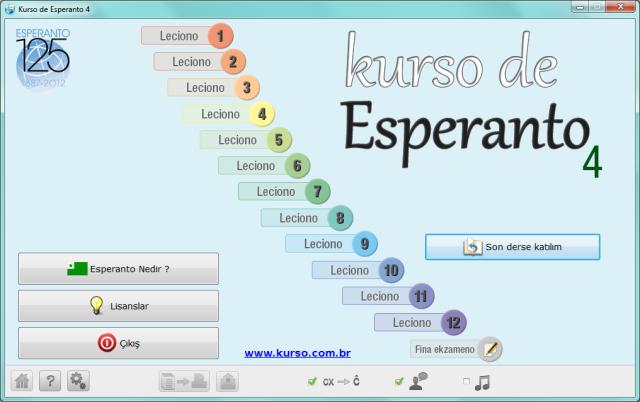 <i>Kurso de Esperanto</i> programının ana menüsü